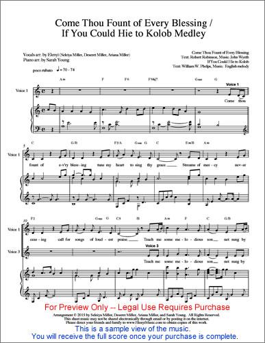 SHEET MUSIC & Performance Track – Come Thou Fount / Hie to Kolob ...